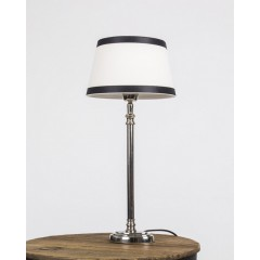 Tischleuchte mit Lampenschirm / Weiß-Schwarz, Tischlampe verchromt, Höhe 45 cm