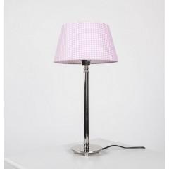 Tischleuchte mit  Lampenschirm Weiß-RosaTischlampe verchromt,  Höhe 51 cm