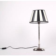 Tischleuchte mit eine gestreiften Lampenschirm, Tischlampe verchromt,  Höhe 52 cm
