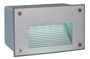 LED Outdoorwandeinbauleuchte aus Aluminium, PVC, matt-silber, IP65
