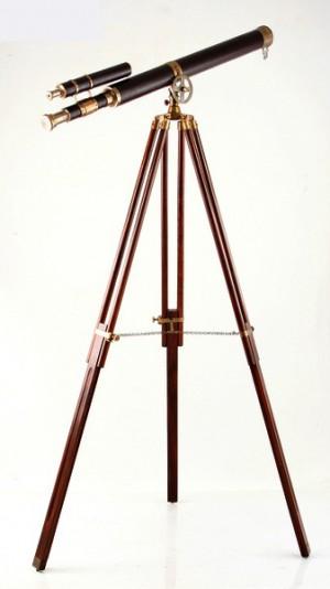 Standteleskop aus Messing, Leder, Holz in braun, gold, antik