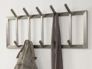 Wandgarderobe, moderne Garderobe mit 10 Haken, Edelstahl, Höhe 36 cm