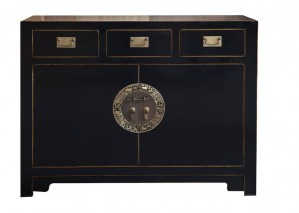 Sideboard aus Pappelholz, Messing in schwarz im Asia Style