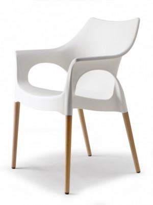 Design Stuhl Komfort natural Buche Holz leinen