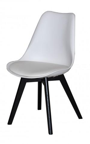 Stuhl gepolstert mit einem Gestell aus Massivholz, Farbe Weiß-Schwarz