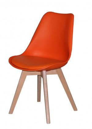 Stuhl gepolstert mit einem Gestell aus Massivholz, Stuhl Farbe Orange