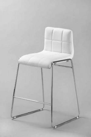 Design Barstuhl mit Chrom Gestell, Stuhl Lederoptik, Farbe weiss
