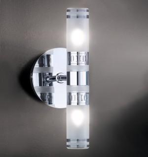 Design Wandleuchte, Badezimmer, aus Metall, Glas in chrom, satin, transparent, Höhe 22 cm