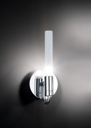 Design Wandleuchte, Badezimmer, aus Metall, Glas in chrom, satin, weiß, Höhe 24 cm