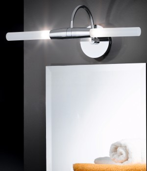 Design Wandleuchte, Badezimmer, aus Metall, Glas in chrom, satin, weiß, Länge 44 cm