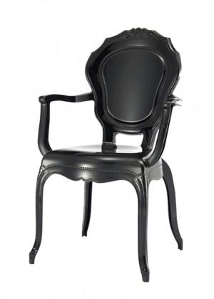 Stuhl mit Armlehne Barock schwarz aus Kunststoff