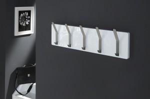 Weiße Wandgarderobe, Garderobe mit zehn Edelstahlhaken, Farbe weiß,  Breite 100 cm