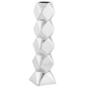 Design Vase aus poliertem Aluminium.