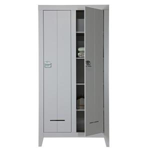 Schrank grau, Schrank 2 Türen, Kinderzimmerschrank grau, Breite 95 cm