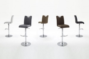 Barstuhl, Barhocker gepolstert in fünf Farben, Höhe 98-120 cm