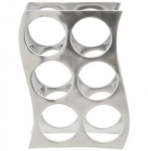 Design Weinregal aus poliertem Aluminium.