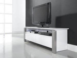 TV Schrank, Lowboard Farbe Weiß Hochglanz mit zwei Schubladen, Breite 140 cm
