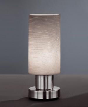 Design Tischleuchte aus Metall, Glas in grau, chrom, Ø 8 cm