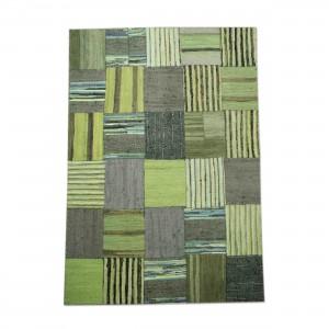 Flickenteppich Teppich,  Farbe Grün, Größe 160 x 230 cm