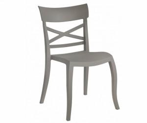 Gartenstuhl taupe stapelbar, Stuhl Outdoor Kunststoff