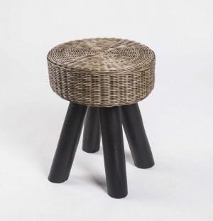 Hocker aus Massivholz und Kunststoff Rattan,  Farbe Braun-Schwarz, Sitzhöhe 44 cm