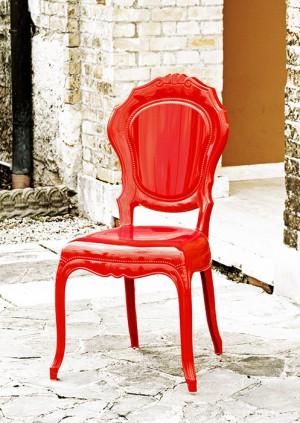 Stuhl rot Barock aus Polycarbonat, Stuhl Barock rot