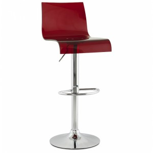 Design Barhocker, Barstuhl Farbe rot-transparent-chrom