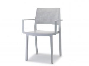 Stuhl mit Armlehne, Indoor, Outdoor, hellgrau, aus Kunststoff, Stapelbar