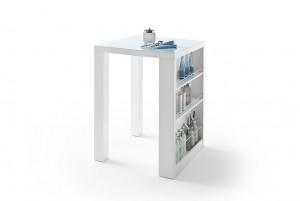 Bartisch weiß Hochglanz lackiert,  Stehtisch weiß,  Höhe 107 cm