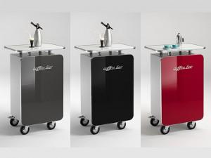Office Bar auf Rollen, mobile Coffe Bar Hochglanz lackiert in vier Farben