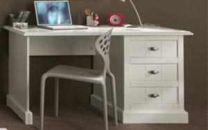 Schreibtisch Hampton im Landhausstil in Weiß, Breite 140 cm