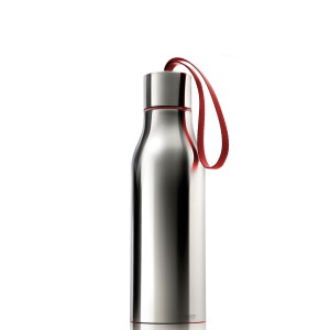 Thermosflasche 0,5L Edelstahl hochglanz grau Schlaufe rot