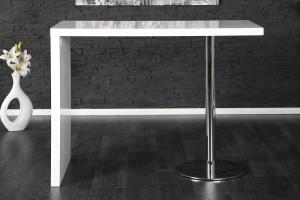 Bartisch weiß Hochglanz lackiert,  Stehtisch weiß-chrom,  Höhe 105 cm