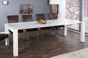 Esstisch weiß Hochglanz, Konferenztisch, Tisch weiß,  Länge 180-260 cm