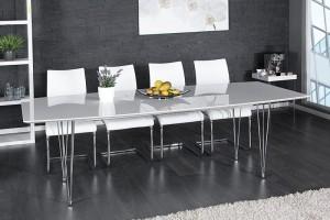 Tisch weiß Hochglanz, Konferenztisch, Esstisch,  Länge 170-270 cm