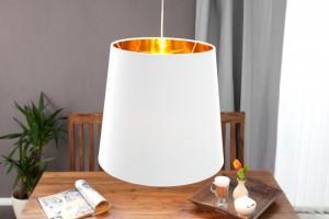 Pendelleuchte Weiß-Gold, Lampenschirm Weiß, Ø 45 cm