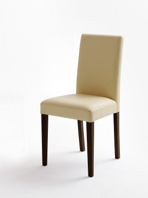 Stuhl beige gepolstert, Stuhl  PU Stoff Lederoptik