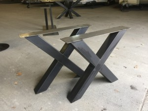 Tischgestell Metall Industriedesign, Tischgestell grau Industrie Metall