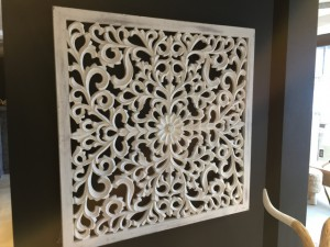 Bild Ornament weiß, Wandbild Bild-Ornament weiß,  geschnitzt, Maße 90x90 cm