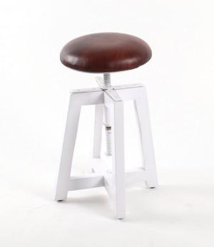 Hocker gepolstert und höhenverstellbar, Farbe Weiß-Braun, Sitzhöhe 51-68 cm