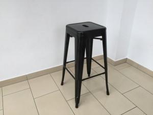 Barstuhl Metall schwarz im Industriedesign, Barhocker schwarz Metall, Sitzhöhe 77 cm
