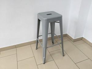 Barstuhl Metall grau im Industriedesign, Barhocker grau Metall, Sitzhöhe 77 cm