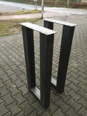Bartischgestell Metall grau, 2er Set Tischgestell grau Metall, Stehtisch-Gestell Metall, Höhe 110 cm