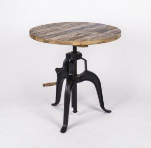 Bartisch, Esstisch aus Massivholz im Industriedesign, Durchmesser 75 cm