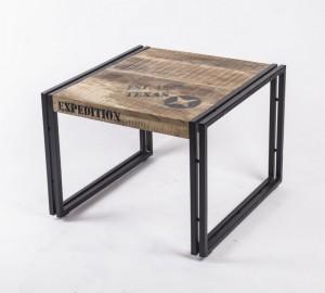 Beistelltisch aus Massivholz im Industriedesign, 60 x 60 cm