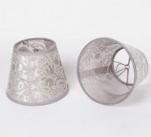 KIemmschirm Grau transparent, Lampenschirm für Kronleuchter, Form rund Ø 14 cm