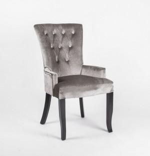 Stuhl gepolstert mit Armlehne,  Stuhl im Landhausstil, grauer  Samtstoff mit Strasssteinen