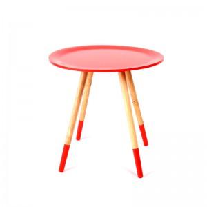 Design Beistelltisch rot aus Holz, Ø 48 cm