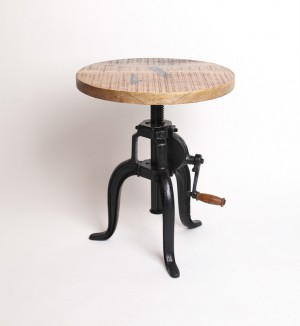 Beistelltisch  aus Massivholz im Industriedesign, Durchmesser 45 cm, höhenverstellbar