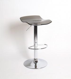 Design Barhocker, Farbe grau-transparent-chrom